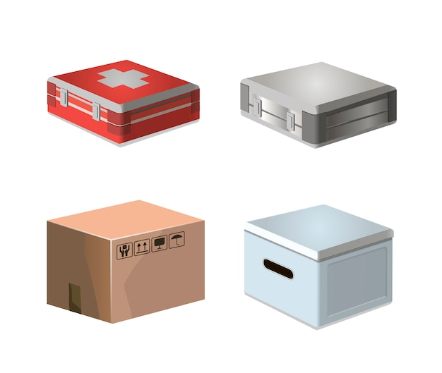 Flat cardboard carton box and medicak kit pack. 3d pack  isolated box. background delivery object infographic gift package