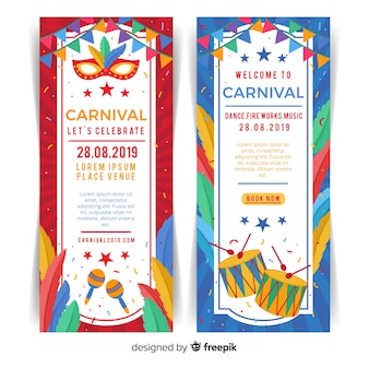 Banner di carnevale piatto