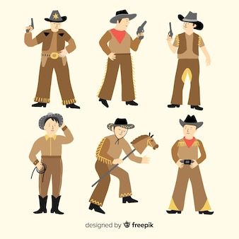 Flat carnival cowboy costume collection