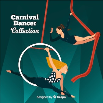 Flat carnival dancer collection