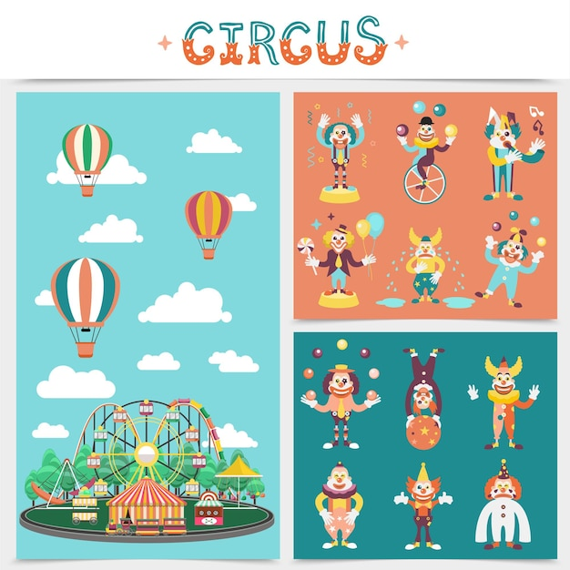 Flat carnival elements concept with amusement park carousels attractions circus tent hot air balloons clowns