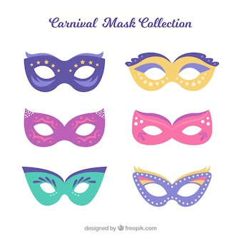 Flat carnival mask collection