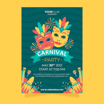 Flat carnival party flyer and poster design