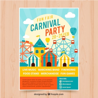 Flat carnival party flyer/poster