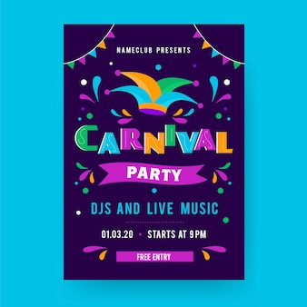 Flat carnival party poster