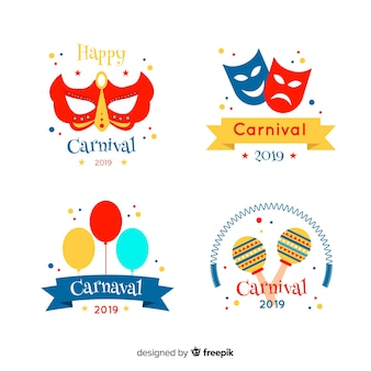 Flat carnival stickers set