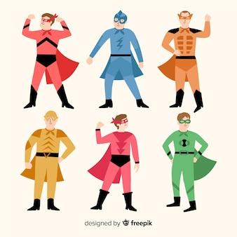 Flat carnival superhero costume collection