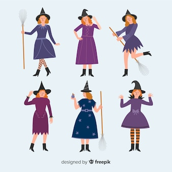 Flat carnival witch costume collection