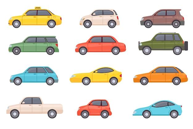 フラットカー。漫画の車両の側面図。タクシー、ミニバン、ミニカー、suv、ピックアップトラック。市の自動輸送アイコン。自動車デザインベクトルセット。白で隔離の都市交通オブジェクト