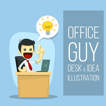 Flat cartoon business idea template with office guy figure