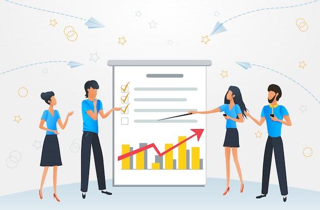 Flat cartoon business people meeting presentation planning brainstorm