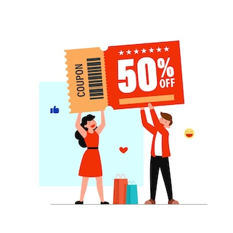 Flat cartoon character customer 50 percent discount with coupon