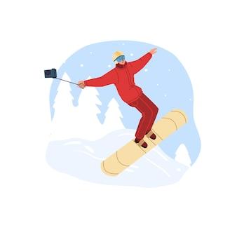 スポーツ活動をしているフラットな漫画のキャラクター、冬の屋外でスノーボード