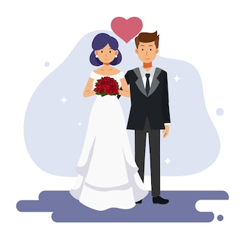 Flat cartoon character illustration of cute couple marriage. bride and groom, wedding