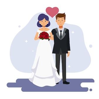 귀여운 커플 결혼의 플랫 만화 캐릭터 그림. 신부와 신랑, 결혼식