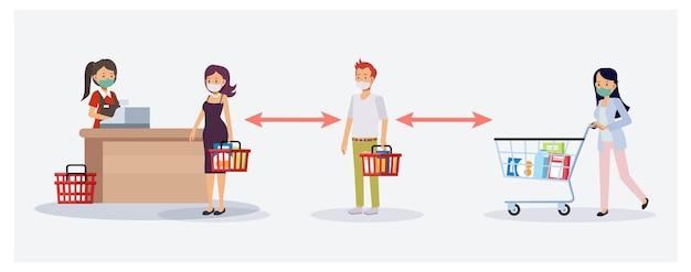 食料品店、スーパーマーケットのコンセプトで社会的距離のフラット漫画キャラクターイラスト。