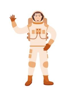 白い背景で隔離のフラット漫画キャラクター宇宙飛行士