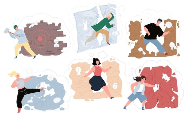 Flat cartoon characters destroying walls,success achieving metaphor vector illustration concept