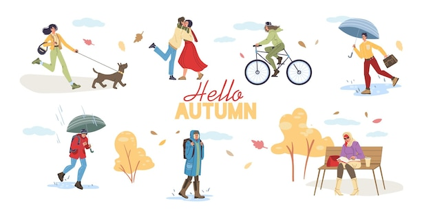 Flat cartoon characters doing autumn activities and walking outdoor in falling leaves