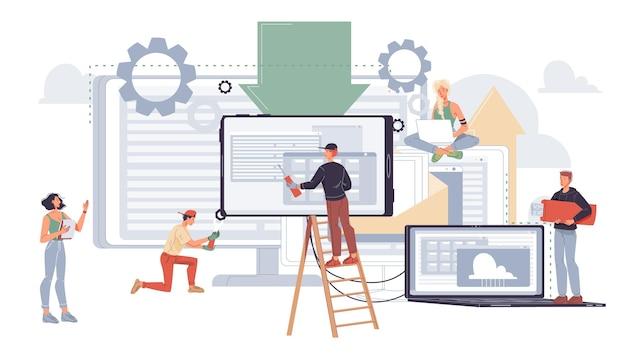Плоские мультипликационные персонажи иллюстрации офисных работников