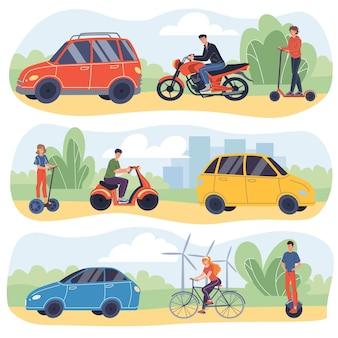 現代の車のフラットな漫画のキャラクター-幸せな若者は車の横にあるスクーター、自転車、セグウェイ、オートバイ、電動一輪車に乗るwebオンラインバナーデザインセット、現代の都市交通の概念