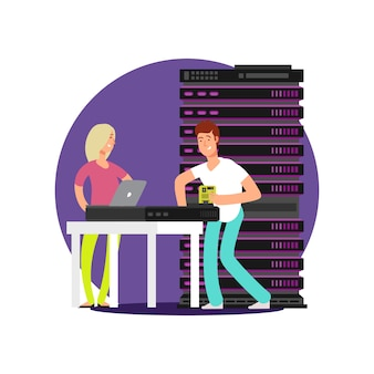 Flat cartoon characters server administrators