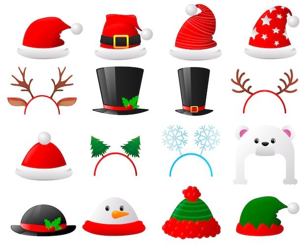 フラット漫画クリスマス帽子セット