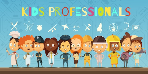 전문가의 의상을 입고 어린이 그룹 플랫 만화 구성