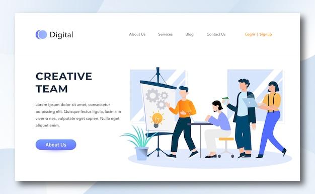 Flat cartoon creative team for website development landing page.