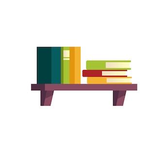 선반, 가구 및 인테리어 요소 벡터 일러스트 레이 션 개념에 플랫 만화 다른 책