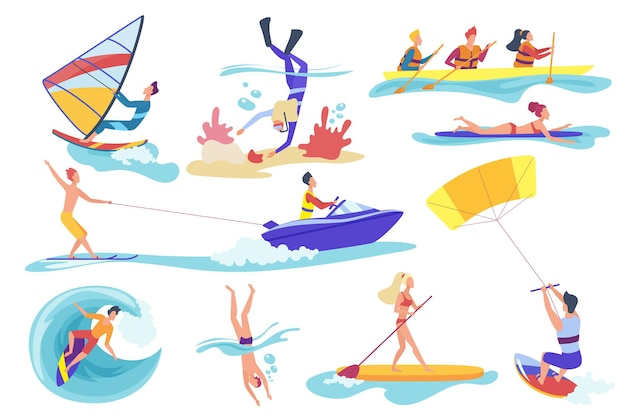 Flat cartoon different female male involved in water sports activities Premium Vector