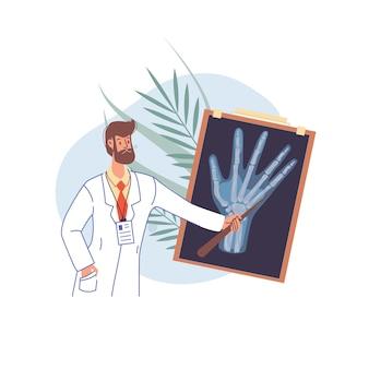 균일 한 그림에서 플랫 만화 의사 캐릭터