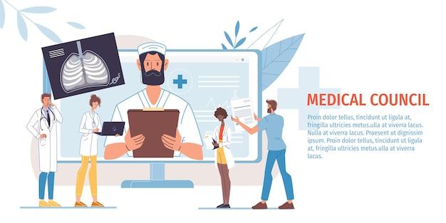 Плоские герои мультфильмов доктор и медсестры в униформе иллюстрации
