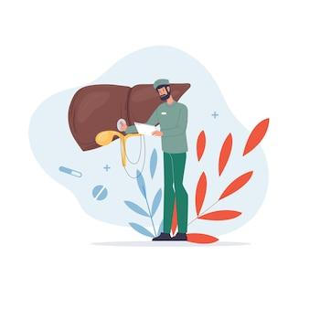 制服とシンボルの肝臓病のイラストの平らな漫画の医者のキャラクター