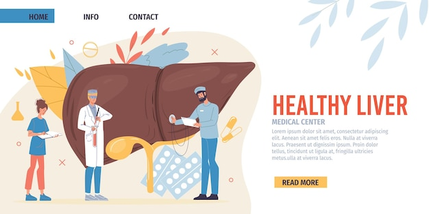 Flat cartoon doctor characters in uniforms landing page