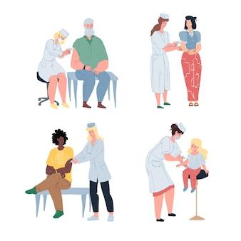 フラット漫画の医師と患者の文字セット、予防接種とコロナウイルス予防ベクトルイラストコンセプト