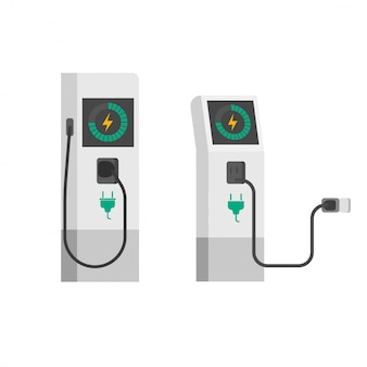 Flat cartoon electric car charger