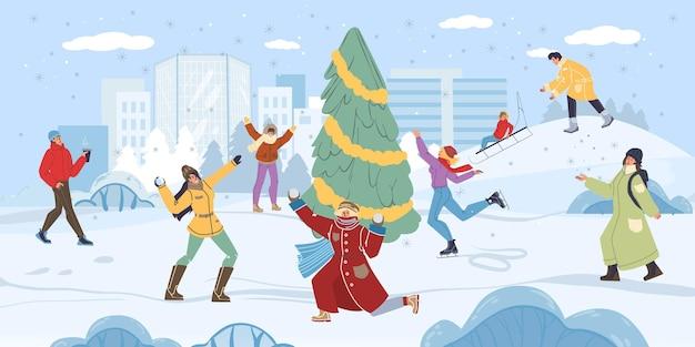 冬の野外活動をしている平らな漫画の家族のキャラクター
