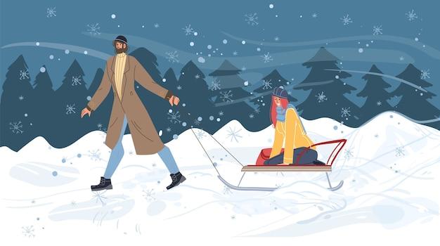 冬の野外活動をしているフラット漫画家族キャラクター