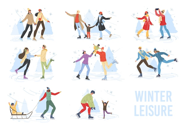 冬のアウトドアスポーツ活動をしているフラット漫画家族キャラクター