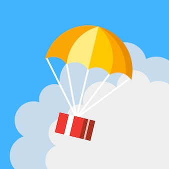 Flat cartoon gift delivery parachute vector icon