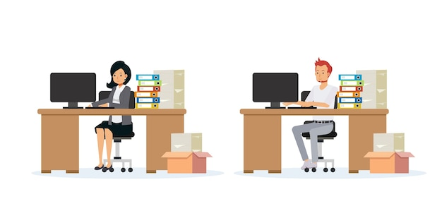 Flat cartoon illustration of business people working in office.