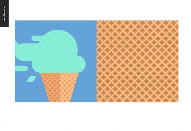 Flat cartoon illustration of mint ice cream in waffle cone. and waffle cone seamless pattern