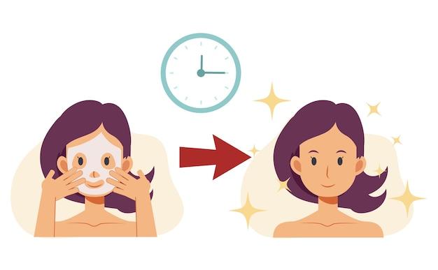 肌に問題のある女性のフラットな漫画イラストは、ケア化粧品を使用した結果を示しています。前後。