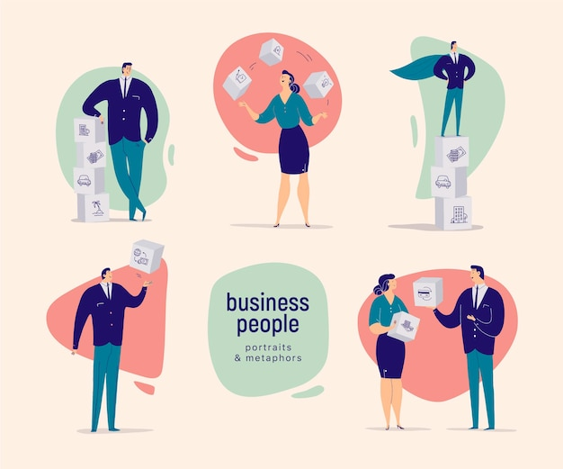 Flat cartoon illustration with business people