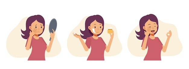 Flat cartoon illustration of woman is worried about skin ,acne, pimples, blackheads and healthy skin. using face mask, cream and getting good result.