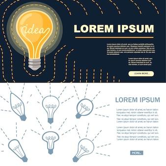 Flat cartoon incandescent lamp yellow retro light bulb with idea concept vector illustration on dark background advertising banner design.