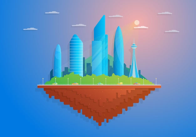 Плоский мультфильм остров с небоскребами и автомобилями.