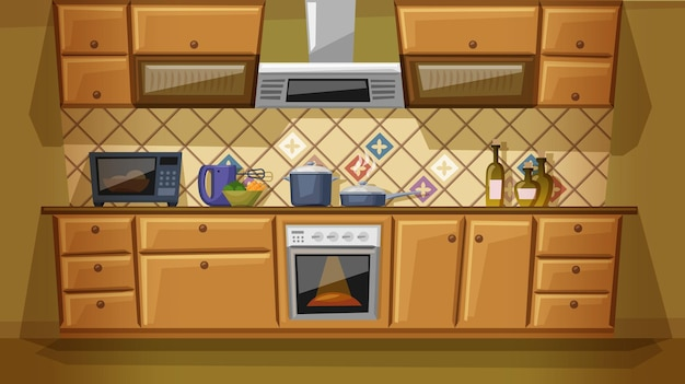 Flat cartoon of kitchen with furniture. cozy kitchen interior with stove, cupboard, dishes and microwave.