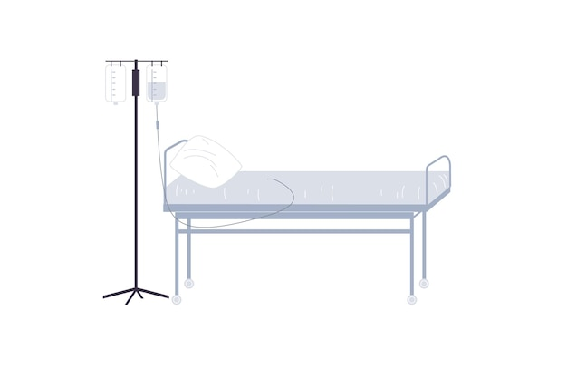 Flat cartoon medical drop counter and bed,treatment and therapy vector illustration concept